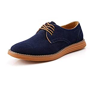 Shoes Comfortable Oxfords for Men Work Shoes Lace Up Genuine Leather Suede Business Dress Dating Driving Vegan Anti-Slip Flat Casual Round Toe Good Experience for Outdoor Sports Fashion