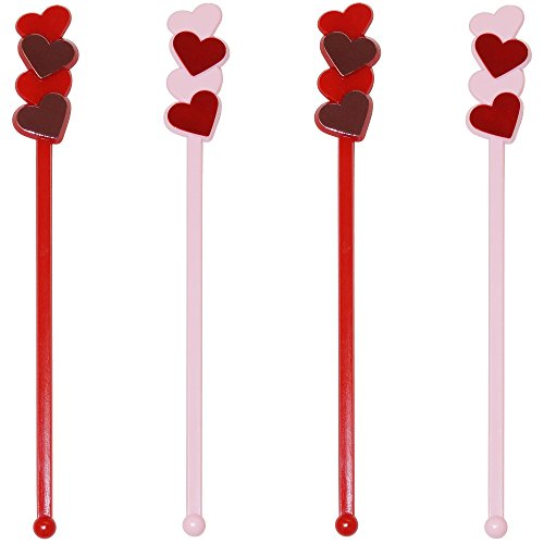 Royer 6 Inch Plastic Red & Pink Heart, Love, Valentines Day, Romantic Themed Swizzle Sticks, 24 Ct. - Made In - Day Fun Dates Valentines