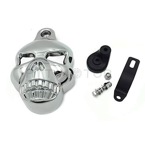 Horn Cover Skull (Chrome Skull Horn Cover For Harley Big Twins V-Rods Stock Cowbell 1992-2013)