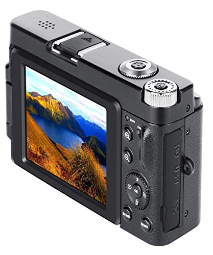 Price comparison product image Vacally Digital Camera Camcorder Full HD WiFi 3.0Inch 180Degree Rotation Flip Screen for Vlogging,  Built-in Wi-fi
