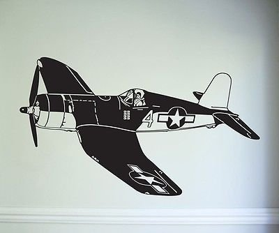 Retro Airplane Us Army Airforce Fighter Wall Decal Decor Sticker Wall Art Vinyl