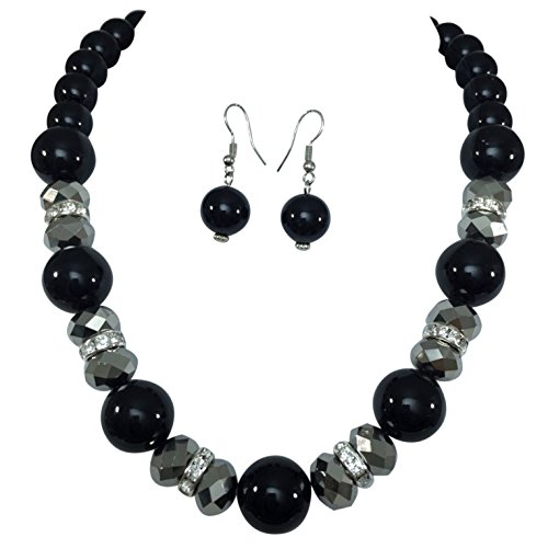 Single Strand Glass Beaded Rhinestone Imitation Pearl Necklace Dangle Earrings Set (Black & Hematite Grey)