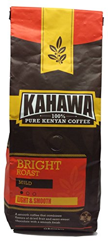 KAHAWA Kenya Coffee, Inoffensive Roast, Light Roast, Ground Coffee, 100% Arabica Coffee, Kenya AA, Specialty Coffee, Premium Coffee, Single Source Origin, Direct Fair Trade, 12 Ounce
