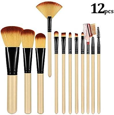 Brochas De Maquillaje 12 Piezas con estuche, ZoneYan set de brochas de maquillaje rostr, Pincel de maquillaje de viaje(Beige): Amazon.es: Belleza