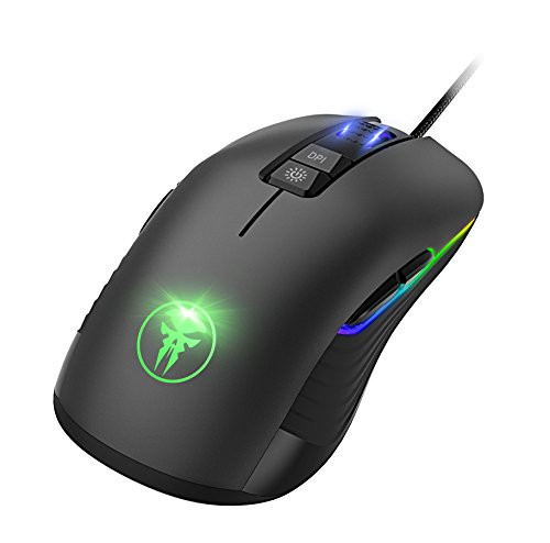 IVSO Gaming Mouse- Ambidextrous Gaming Mouse- 9 Buttons Optical Wired Gaming Mice,5000 DPI Optical Sensor,5 Adjustable DPI Levels Gaming Mouse for Pro Gamer/ PC/ Laptop/Computer /Mac (Black)