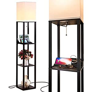 Brightech Maxwell Charger – Shelf Floor Lamp with USB Charging Ports & Electric Outlet – Tall & Narrow Tower Nightstand for Bedroom – Modern, Asian End Table with Light Attached – Black