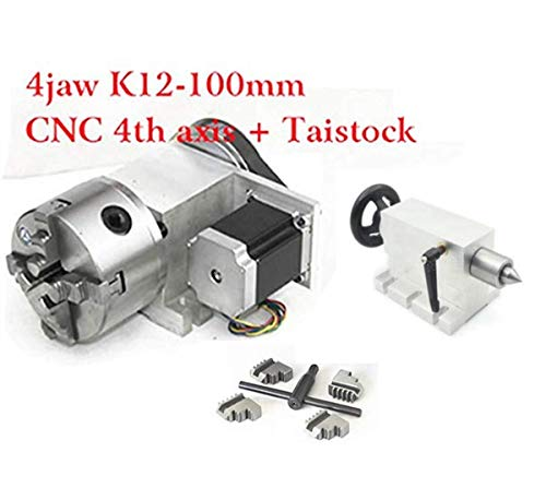 K12-100mm CNC Router Milling Machine Rotational Axis 4th Axis A axis Rotary Table A axis 100mm 4 jaw chuck diving head with 65mm Tailstock Reducing ratio 6:1 for CNC Engraving Machine