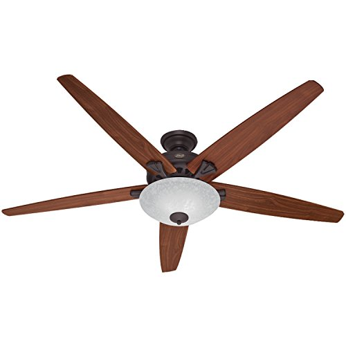 Hunter 55042 Stockbridge 70-Inch Ceiling Fan with Five Walnut/Medium Oak Blades and Light Kit, New Bronze