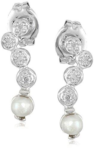 Sterling Silver Freshwater Cultured Pearl Geometric Drop Post Stud Earrings