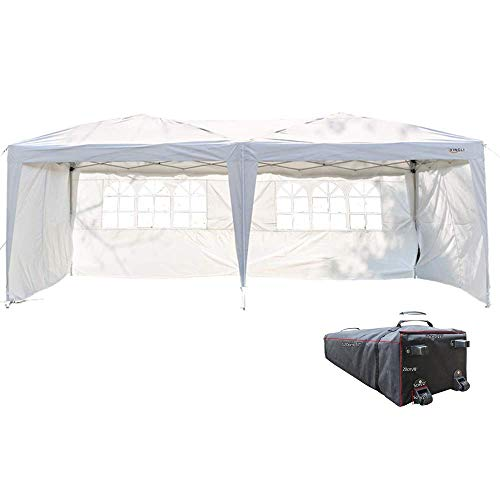 (VINGLI 10'x 20' EZ Pop Up Canopy Party Tent Wedding Event,with 4 Removable Sidewalls & Wheeled Carrying Bag,Outdoor Gazebo Event Camping Garden Patio Beach Tent (White))