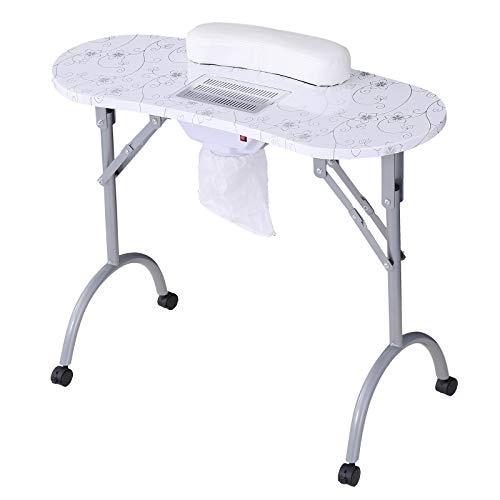 Manicure Nail Table SUNCOO Portable Station Desk Spa Beauty Salon With Roking Wheels Fan Carrybag...