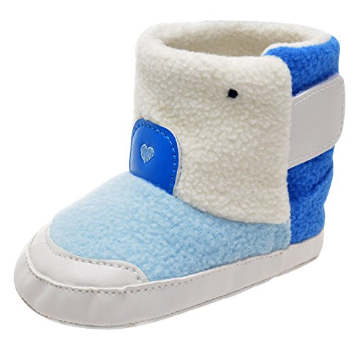 Happy Cherry Unisex Newborn Shoes Winter Warm Lining Snow Boot For 0-6 Months Infant Blue