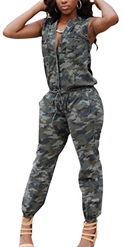 Blansdi Women's Sexy Camouflage Sleeveless Party Clubwear Jumpsuits Rompers S (Sexy Camo Outfits)