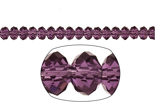 Crystal bead, facet rondelle, Amethyst, 4x6mm 280pcs