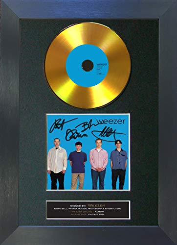 #193 Gold CD Weezer Weezer (Blue) Signed Autograph CD & Cover Reproduction Print A4 Rare Perfect Birthday (297 x 210mm) (Black Frame) (Weezer Signed)
