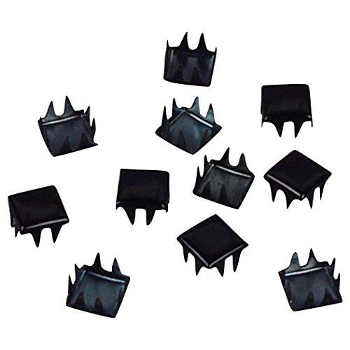 Porcelynne Vintage Black Enamel Metal Square Studs/Nailheads - 6mm - 100 - Metal Studs Enamel
