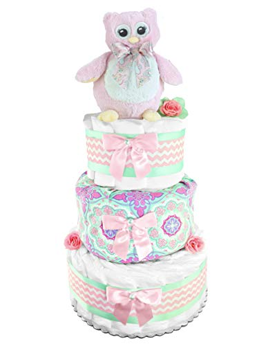 Owl 3-Tier Diaper Cake - Girl Baby Shower Gift - Newborn Gift - Mint and Pink ()