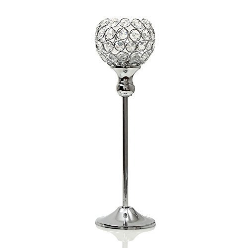 VINCIGANT Silver Crystal Candle Holder/Candlestick for Dinning Room Table Centerpiece Decor,Gifts Boxed