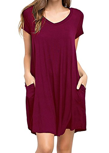 AIDIER Women's Soft Casual Loose Plain Pocket Flowy Tunic T-Shirt Swing Tunic Dress Wine-red