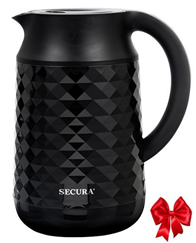 Secura Cool Touch Precise Temperature Control 1.8Qt (7 Cups) Electric Water Kettle (Black) | 1500W Strix Controls | Float Valve Technology | Quick Boil | 8 Pre-sets (Black)