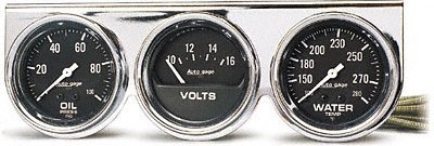 Auto Meter 2399 Autogage Black Oil/Water/Volt Gauge with Chrome Console by Auto Meter
