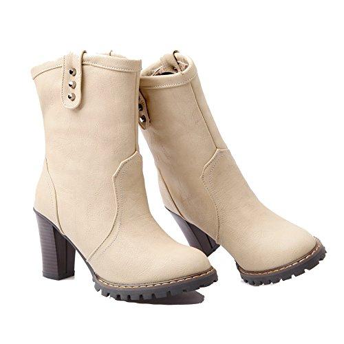 AgooLar Damen Rund Zehe PU Reißverschluss Stiefel, Cremefarben-Blockabsatz, 41