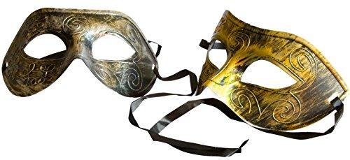 PACK OF 2 Silver & Gold Venetian Masquerade Gladiator Mask Carnaval Halloween Mardi Gras | Mini Bundles