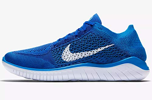 c2ed823e376e Galleon - NIKE Men s Free Rn Flyknit 2018 Game Royal White Photo Blue Nylon  Running Shoes 12 D(M) US