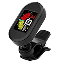 Guitar Tuner Clip-on for Guitar, Bass, Ukulele and Violin, Mugig Anti-Interference Colorful LCD Display, Battery Included, Auto Power Off