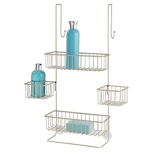 """iDesign Metalo Bathroom Over the Door Shower Caddy with Swivel Storage Baskets for Shampoo, Conditioner, Soap, 22.7"""" x 10.5"""" x 8.2"""", Matte Satin"""