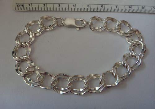 Shop Globe 7'' Sterling Silver Lg 11 mm 14 Gram Diamond Cut Double Link Charm (Sterling Silver 7' Double Link)