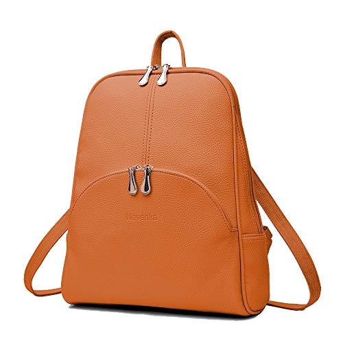 Nevenka Brand Women Bags Backpack Purse PU Leather Zipper Bags Casual Backpacks Shoulder Bags (Autumn Maple)