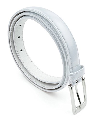 Womens Skinny Leather Belt with Silver Polished Square Belt Buckle - Solid Color PU Leather Belts by Belle Donne - White Medium (Square Buckle Belt)
