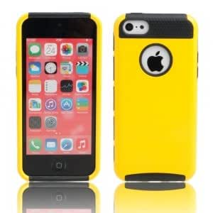 2-in-1 Glaze Silicone PC Protective Case for iPhone 5C Black + Yellow