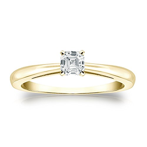 - Diamond Wish 18k Yellow Gold Asscher-cut Diamond Solitaire Ring (1/3 carat TW, O.White, I1-I2) 4-Prong, Size 7.5