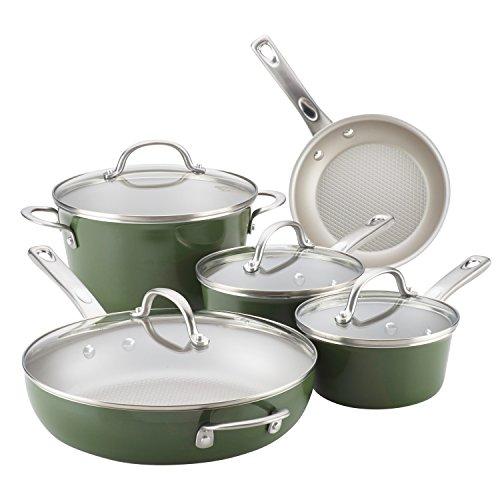 Ayesha Home Collection Porcelain Enamel Nonstick Cookware Set, Basil Green, 9-Piece