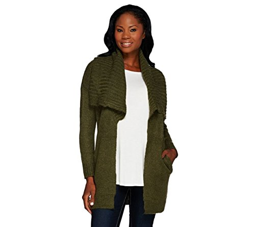 Lisa Rinna Collection Open Front Sweater Pockets A267482  Deep Olive  1X