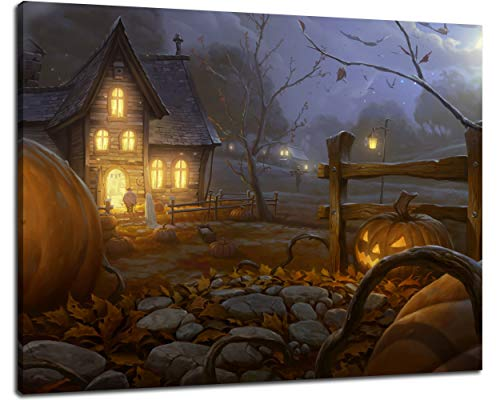 NAN Wind 30X40inch Modern Giclee Canvas Prints Halloween Pumpkins Wall Art Halloween Decorations Wall Decor Poster Paintings on Canvas Stretched and Framed Ready to Hang for Home -