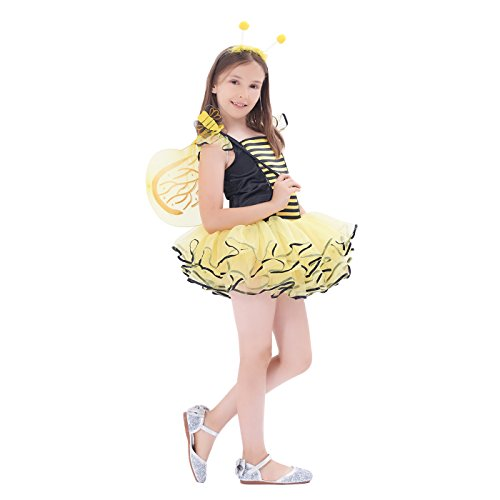 Cute Halloween Dresses For Kids (Cute Bee Costume, Girls Halloween, Masquerade Party Suits, 3Pcs (dress, wings, headband) (3-4Y))