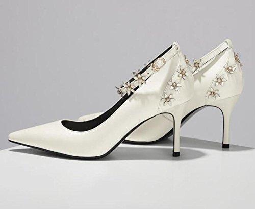 En Cheville Robe Profondes Soirée Fleur Chaussures Hauts La Robe Pompes blanc Peu Talons Rose Chaussures Femmes White Cour Dames à Bride De Cuir F0wqA5Zx