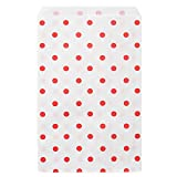 200 pcs Red Polka Dot Paper Merchandise Gift Bags Shopping Sales Tote Bags 6''x9'' - Caddy Bay Collection