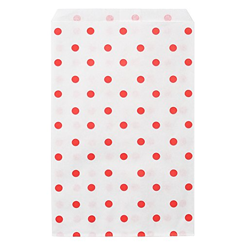 "200 pcs Red Polka Dot Paper Merchandise Gift Bags Shopping Sales Tote Bags 6""x9"" - Caddy Bay Collection"