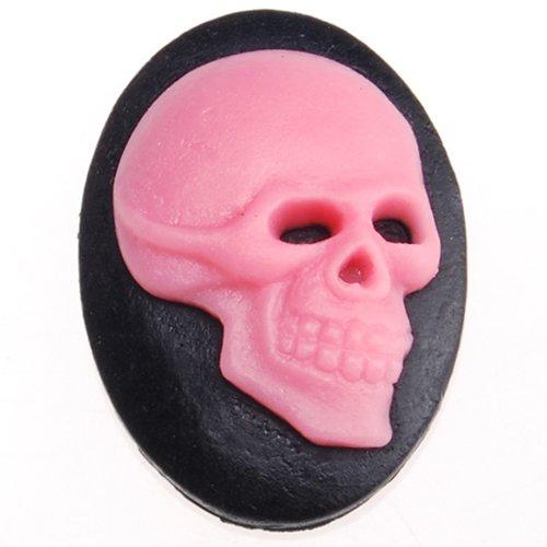 18x25mm Black Background Pink Skull Pattern Cool Cameo-20pcs