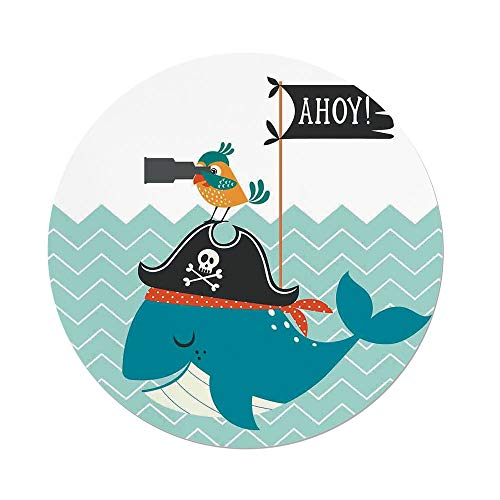 ecloth,Kids,Ahoy Whale with a Pirate Hat Bird Binoculars Zig Zag Waves Flag Nautical Modern Decor Print Decorative,Dining Room Kitchen Picnic Table Cloth Cover,for Outdoor Indoor ()