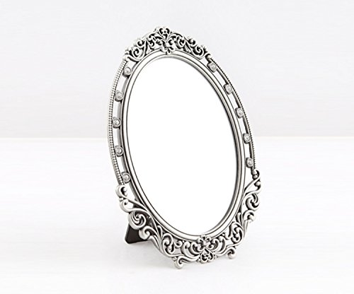 SEHAMANO Vintage Oval Frame Makeup metal Mirror with Crystal, Decorative Back Stand Travel Mirror (Tin (Grey))
