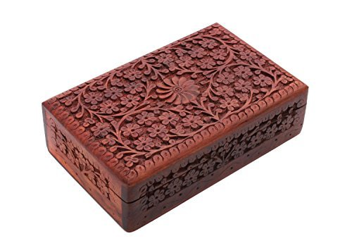 Hand Carved Wooden Jewelry Box Trinket Keepsake Storage Travel Case Organizer with Floral Patterns Gifts