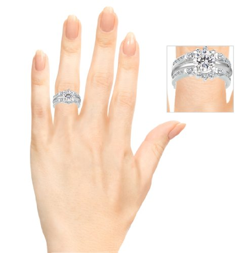 TwoBirch 1 ct. Cubic Zirconia Half Halo Classic Style Ring Guard in Sterling Silver (1 ct. twt.) by TwoBirch (Image #8)