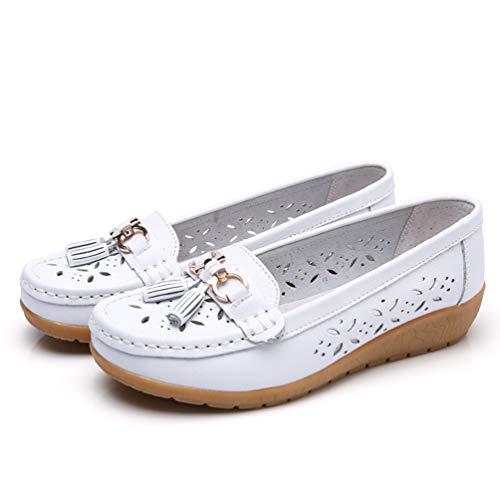- JOYBI Women Casual Boat Shoes Leather Round Toe Comfortable Slip On Breathable Fringe Fashion Flat Loafers White