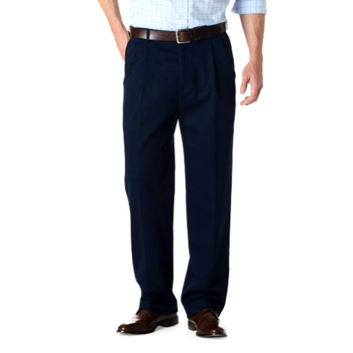 Haggar Work-to-Weekend Pleated Pants NAVY 46W x 30L Weekend Cotton Pleated Pants