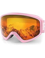 findway Skibrille Kinder,Ski Snowboard Brille Brillenträger Snowboardbrille Schneebrille Verspiegelt für Junior Jungen Mädchen Teenager-3 4 5 6 7 8 9 10 11 12 13 14 Jahre - OTG 100% Anti-UV Anti-Fog